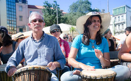 A Hundred Drums Festival on Workers Day. Street festival of one hundred drums played in the streets of Lisbon to celebrate the InternationalSmile Day and Royalty Free Stock Photography