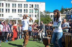 A Hundred Drums Festival on Workers Day. Street festival of one hundred drums played in the streets of Lisbon to celebrate the InternationalSmile Day and Royalty Free Stock Photo