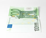 Hundred euro. 100 euro banknote on a white background Royalty Free Stock Photo