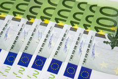 Hundred Euro background. Background from hundred euros of banknotes Stock Photography