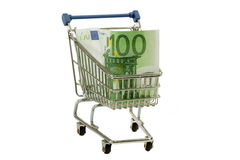 Hundred euro bank note. Model shopping trolley with  euro banknote on white background Royalty Free Stock Photos