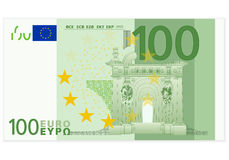 Hundred euro banknote. One hundred euro banknote on a white background Royalty Free Stock Images