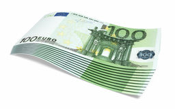 Hundred euro banknotes. Close-up (isolated on white and clipping path royalty free illustration