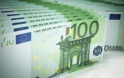 Hundred euro banknotes. 3d render Hundred euro banknotes stacks (depth of field Royalty Free Stock Image