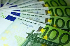 Hundred euro banknotes ready for payment. Several one hundred euros interposed at each other Royalty Free Stock Photography