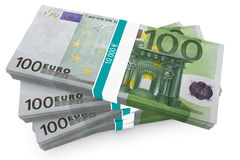 Hundred Euro Bundles Stock Photo