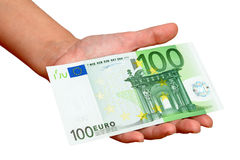 Hundred euro in hand Stock Photography