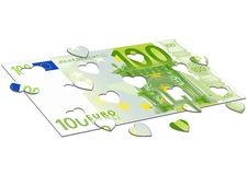 Hundred euro and hearts Stock Photo