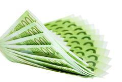 Hundred euro notes building a bent fan shape. Isolated hundred euro notes arranged in a nicely bent fan shape Royalty Free Stock Photography