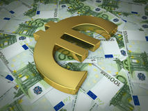 Hundred euro sign and banknotes. 3d render golden euro symbol on hundred euro banknotes (close-up stock illustration