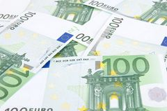 Hundred euros background Stock Photos