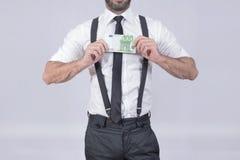 Hundred euros man Stock Photo