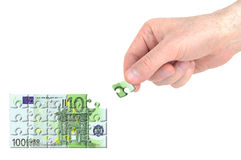 Hundred euros puzzle Royalty Free Stock Images