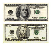 Hundred and fifty dollars bills on white background. Stock Image