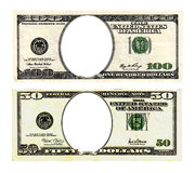 Hundred and fifty dollars bills on white background. Royalty Free Stock Images