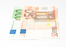 Hundred and fifty euro banknotes. Two banknotes from hundred and fifty euros Stock Photo