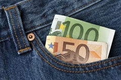 Hundred and Fifty euro banknotes. In a jeans pocket Royalty Free Stock Photo