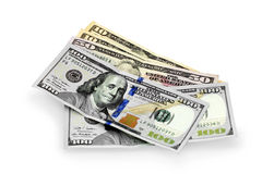 Hundred, fifty and ten dollars Stock Photo