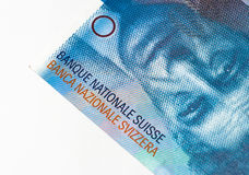 Hundred frank close-up. Close-up of a hundred swiss frank banknote showing National Swiss  bank name Stock Images