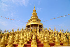 Hundred of golden pagoda Royalty Free Stock Images