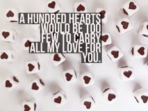 A hundred hearts would be too few to carry all my love for you quote stock photos