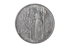 Hundred italian lira coin royalty free stock images