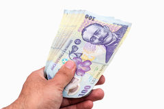 Hundred Lei banknotes Stock Photo