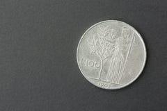 Hundred lire Italian. One hundred old Italian liras  on black background Royalty Free Stock Photos