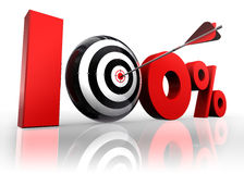 Hundred per cent conceptual target. Hundred per cent 100% red with conceptual target and arrow reflect on white background Royalty Free Stock Photography