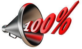 Hundred per cent red symbol. Hundred per cent 100% red symbol in bullhorn isolated on white background. clipping path included Royalty Free Stock Images