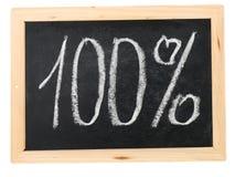 Hundred percent. On  black board Stock Images