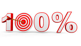 Hundred percent with arrow and target board. 3d render of 100% text with arrow and target board Stock Image