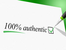 Hundred Percent Authentic Represents Bona Fide And Actual Stock Images