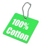 Hundred percent cotton tag. Isolated on white background Royalty Free Stock Image