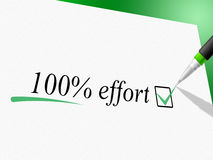 Hundred Percent Effort Shows Hard Work And Completely. Hundred Percent Effort Meaning Elbow Grease And Force royalty free illustration
