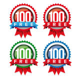 Hundred percent free badge with ribbon. Hundred percent free badge. Free ribbon Royalty Free Stock Photos