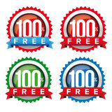 Hundred percent free badge with ribbon. Vector Royalty Free Stock Images