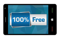 Hundred Percent Free On Mobile Screen Royalty Free Stock Photo