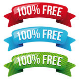 Hundred percent free ribbon set. Vector royalty free illustration