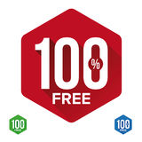 Hundred percent free sign label. Vector Royalty Free Stock Images