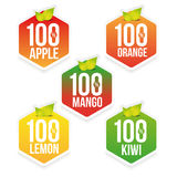 Hundred percent fresh juice label. Vector Royalty Free Stock Image