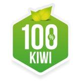 Hundred percent fresh kiwi label Royalty Free Stock Photo