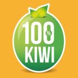 Hundred percent fresh kiwi label Stock Image