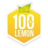Hundred percent fresh lemon label Stock Image