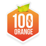 Hundred percent fresh orange label Stock Photos