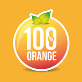 Hundred percent fresh orange label. Vector Royalty Free Stock Photography