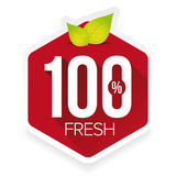 Hundred percent fresh sign label Stock Photo