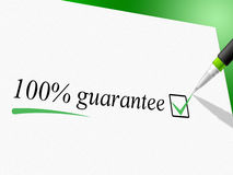 Hundred Percent Guarantee Means Pledge Guarantees And Warrantee Royalty Free Stock Images