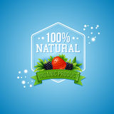 Hundred percent natural organic product. Hundred percent natural product badge for organically grown fresh farm produce with a strawberry and blackberry over a vector illustration