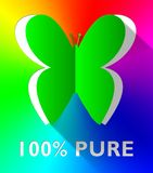 Hundred Percent Pure Butterfly Shows Healthful 3d Illustration. Hundred Percent Pure Butterfly Cutout Shows Healthful 3d Illustration stock illustration